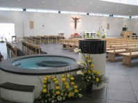 View of the church across the baptismal pool